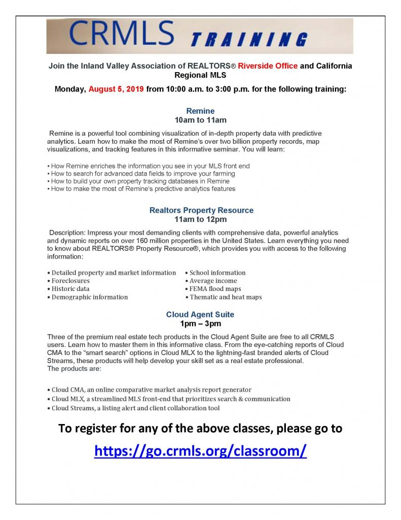 Free CRMLS Training – Riverside