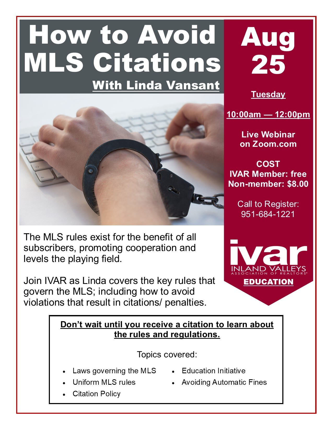Webinar: How to Avoid MLS Citations w/ Linda Vansant